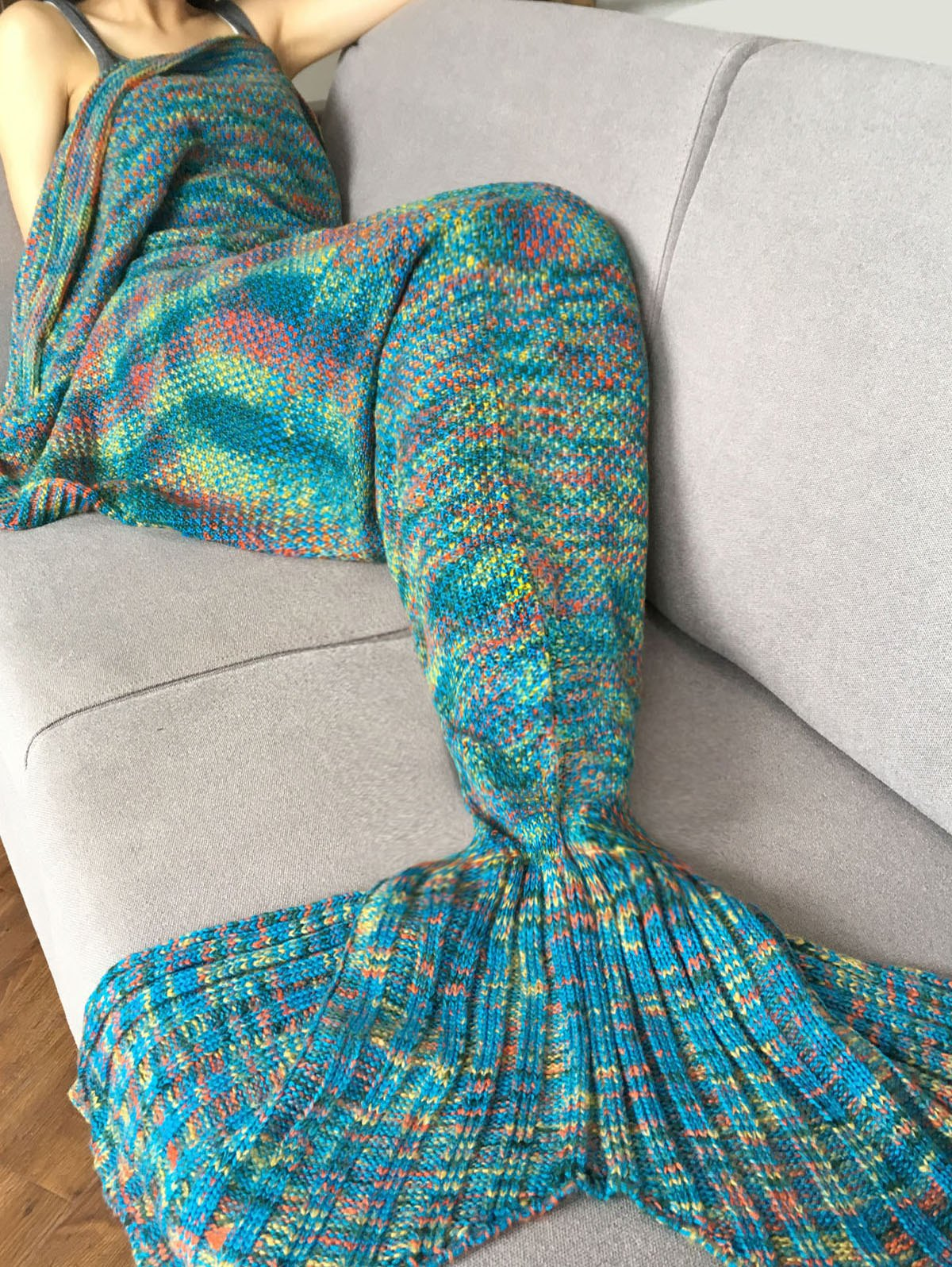 Fashion Crochet Knitted Super Soft Mermaid Tail Shape Blanket For AdultHOME<br><br>Color: BLUE; Type: Knitted; Material: Cotton; Pattern Type: Stripe; Size(L*W)(CM): 180*90CM; Weight: 1.0800kg; Package Contents: 1 x Blanket;