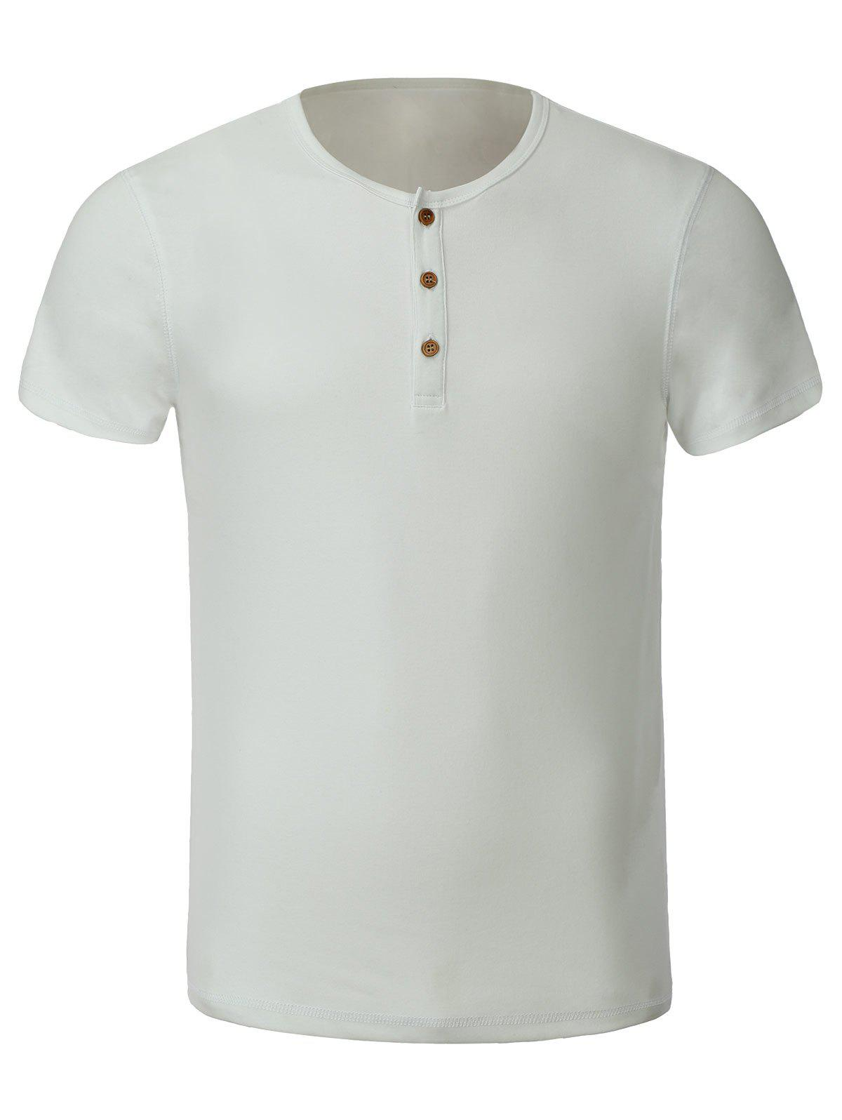 Chic Casual Solid Color Round Collar Short Sleeves T-Shirt For Men