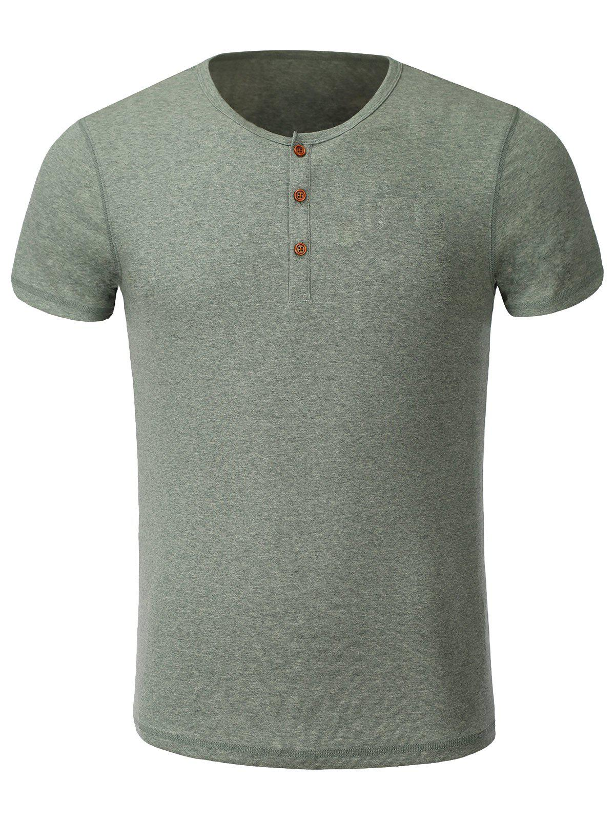 Gray xl casual solid color round collar short sleeves t for Round collar shirt men