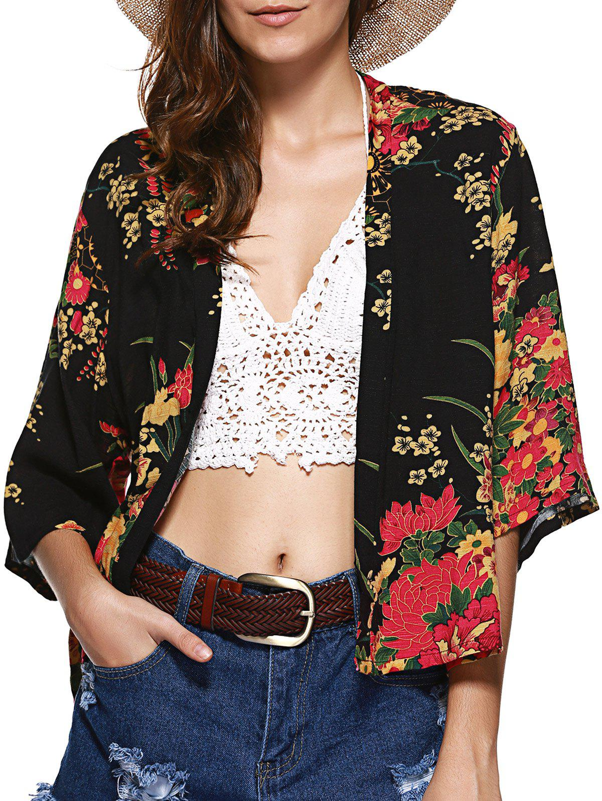 Fancy Collarless Floral Cardigan Short Kimono