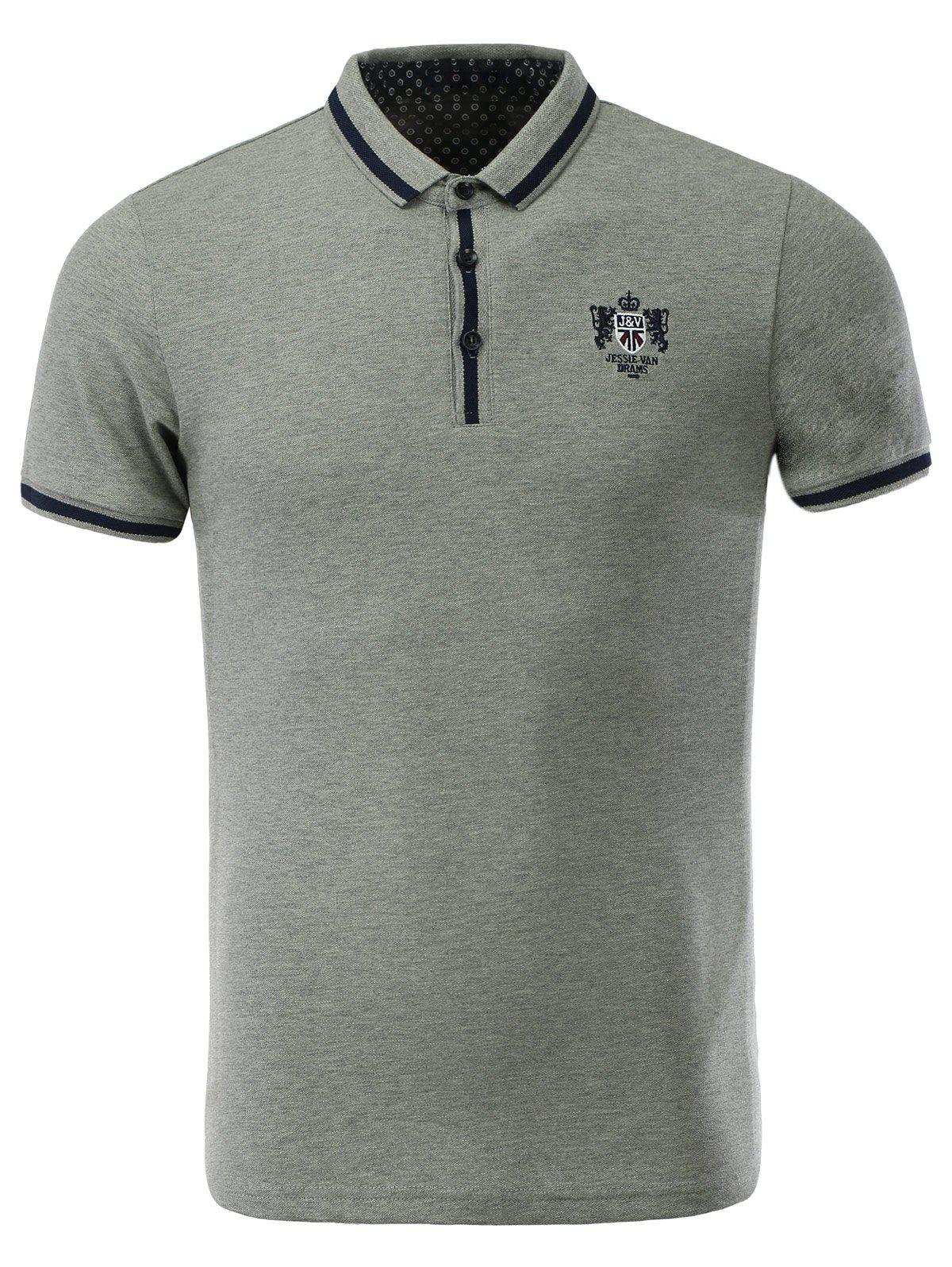 Latest Cotton Blends Turn-down Collar Solid Color Polo T-Shirt