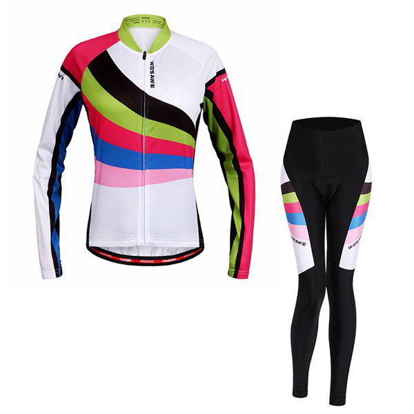 Chic Multi-Colored Breathable Long Sleeve Jersey + Pants Outdoor Cycling Suits For Women