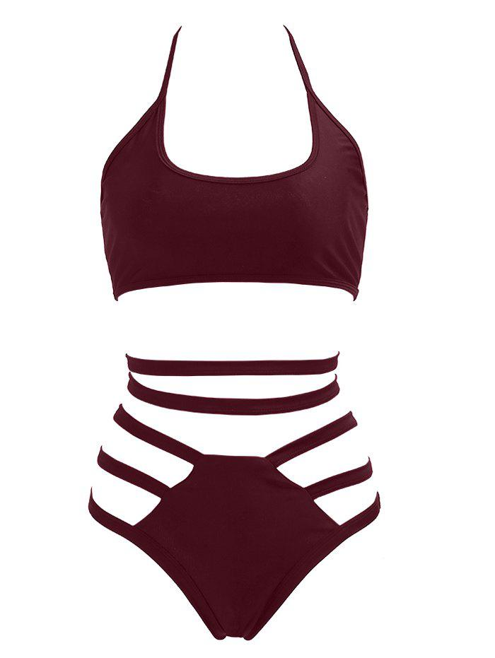 Discount Halter High Waisted Bralette Bikini Set