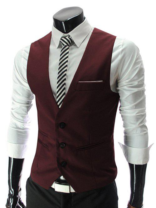 Fancy V-Neck Single Breasted Edging Solid Color Sleeveless Waistcoat For Men