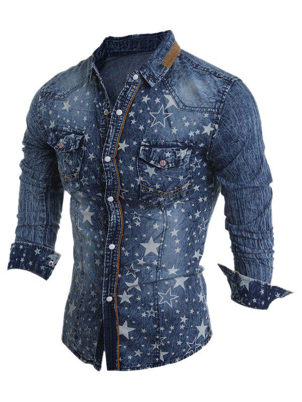 Latest Turn-Down Collar Star Pattern Bleach Wash Long Sleeve Denim Shirt For Men