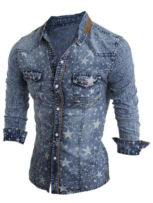 New Turn-Down Collar Star Pattern Bleach Wash Long Sleeve Denim Shirt For Men