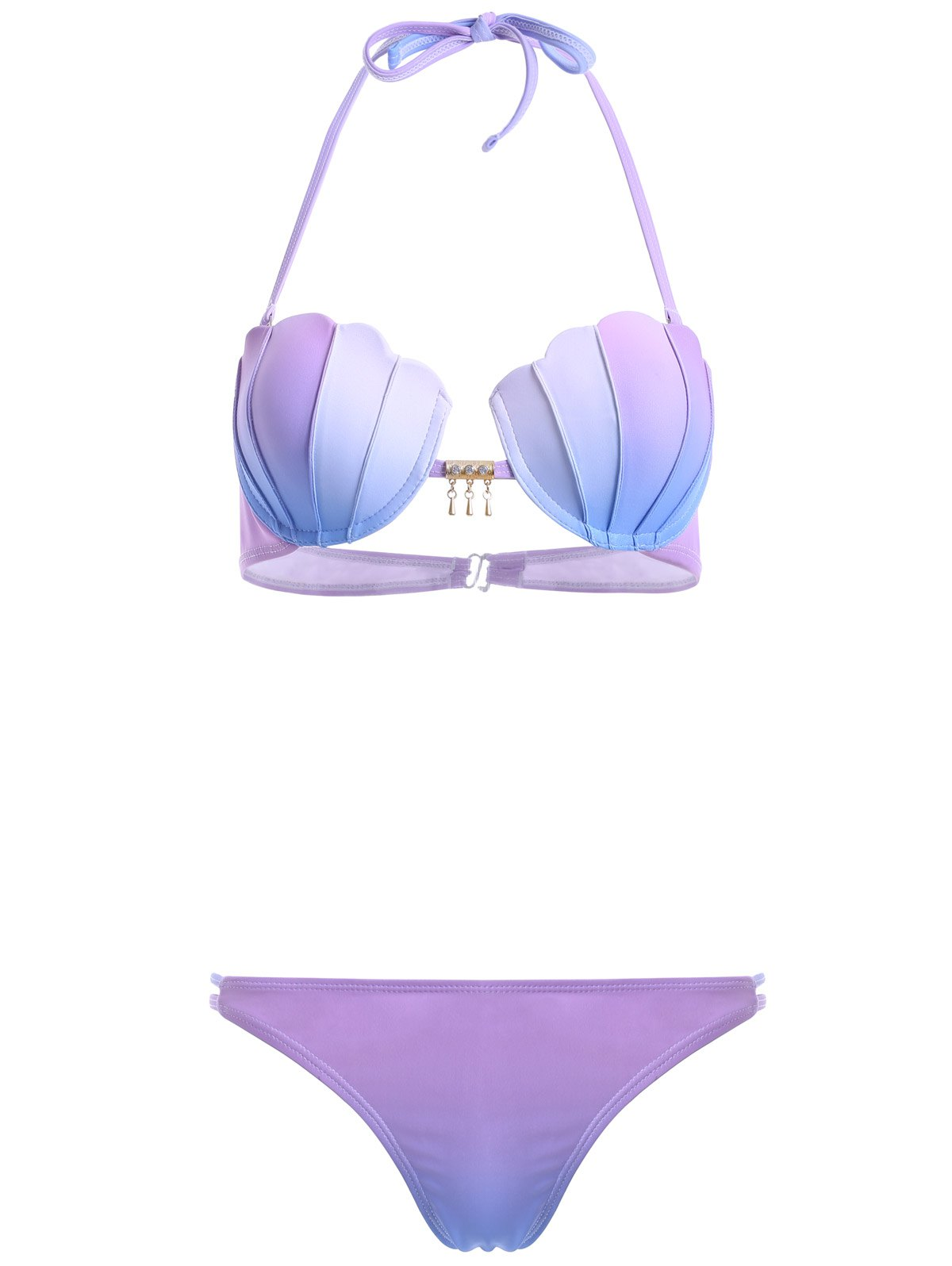 Cheap Halter Ombre Seashell Bikini Set