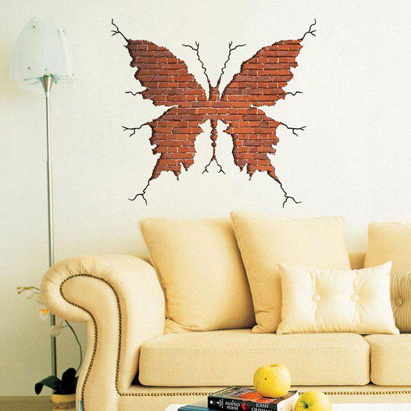 Brick Red Creative 3d Crack Wall Butterfly Shape Wall Art Sticker ...