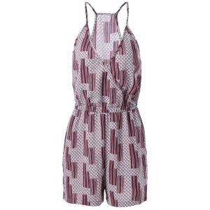 Ethnic Style Loose-Fitting Spaghetti Strap Geometric Print Romper For Women