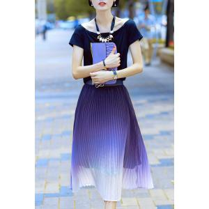 Scoop Neck T-Shirt and Ombre Pleated Midi Skirt