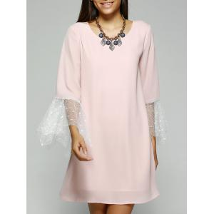 Simple Style Women's Jewel Neck Laced Pink Dress - Pink - S