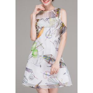 Printed Ruffle Sleeveless Mini Dress