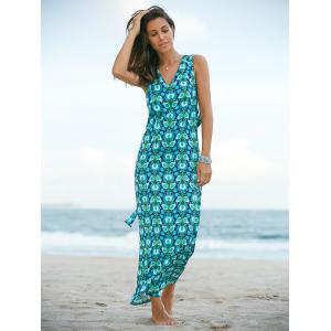 Stylish Plunging Neck Sleeveless Print Maxi Dress  For Women
