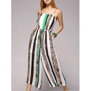 Spaghetti Strap Striped Jumpsuit with Pockets