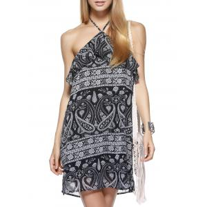 Boho Halter Neck Paisley Flounce Summer Dress - Black - M
