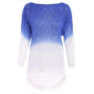 Casual Scoop Neck Long Sleeve Gradiente Asymmetrical Women's Knitwear