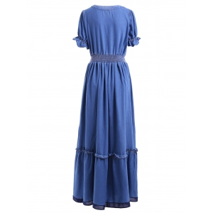 V Neck Long Frill Trim Denim Dress -