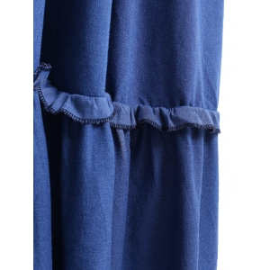 V Neck Long Frill Trim Denim Dress - BLUE M