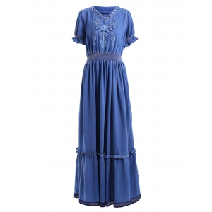 Bohemian V Neck Short Sleeve Denim Women's Maxi Dress