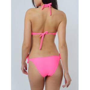 Charming Halter Push Up Bead Embellished Solid Color Women's Bikini Set -