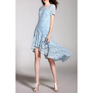 Lace High Low Short Sleeve Dress -