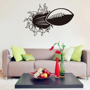 3D Wall-Through Rugby Pattern Sports Vinyl Wall Decals For Bedrooms - BLACK