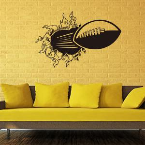 3D Wall-Through Rugby Pattern Sports Vinyl Wall Decals For Bedrooms