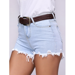 Chic Ripped Destroyed Skinny Women's Denim Shorts -