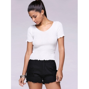 Fashionable Ripped Solid Color Women's Denim Shorts -