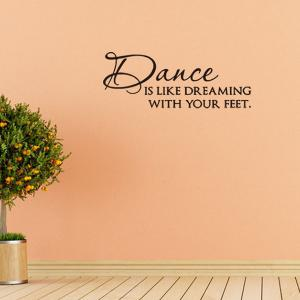 Simple Style Dance Room Decoration Quotes Letters Design Wall Art Sticker - BLACK