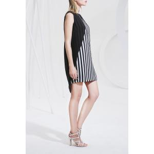 Asymmetric Striped Sleeveless Dress -