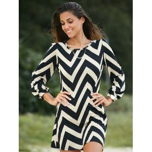 Zigzag Printed Dress For Women - BLACK S