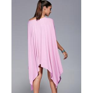 Solid Color 1/2 Batwing Sleeve Asymmetric Loose T-Shirt -