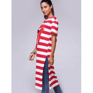 Stylish Striped Tongue Pattern High Slit Long T-Shirt -