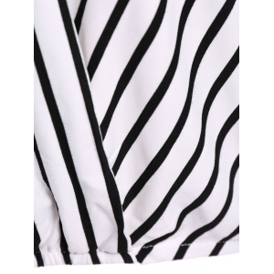 Sexy V-Neck 3/4 Sleeve Striped Hollow Out Women's Blouse -