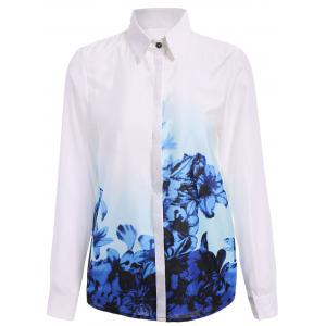 long Sleeve Graphic Chiffon Shirt
