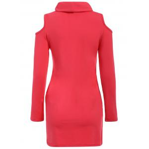 Alluring Cowl Neck Long Sleeve Hollow Out Slimming Women's Dress -