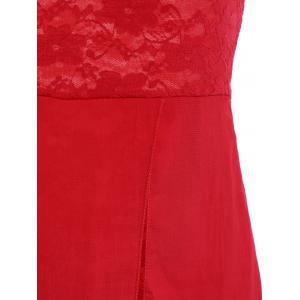 Chiffon One Shoulder Lace Panel Cocktail Party Dress - RED S