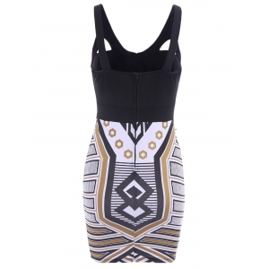Sexy Plunging Neck Sleeveless Spliced Printed Bodycon Women's Dress -