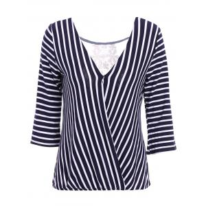 Sexy V-Neck 3/4 Sleeve Striped Hollow Out Women's Blouse