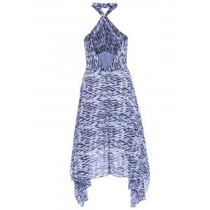 Bohemian Halter Zig Zag Backless Beach Dress For Women -
