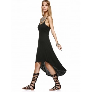 Asymmetrical Backless Strappy Slip Dress - BLACK XL