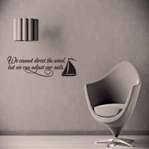 Encouraging Proverbs Sailing Ship Quote Wall Stickers For Bedrooms - BLACK
