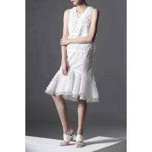 Gazue Spliced White Mermaid Dress -