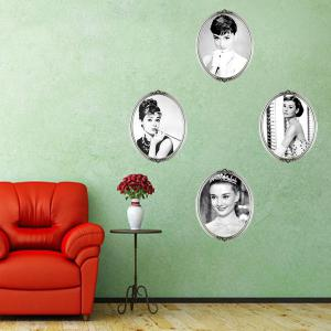DIY Decoration Audrey Hepburn 4 Photos Design Vinyl Wall Art Sticker - White And Black - Au Plug