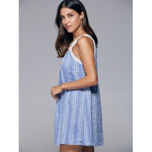 Sleeveless Openwork Print Dress - BLUE XL