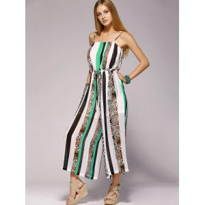 Spaghetti Strap Striped Jumpsuit with Pockets - WHITE/GREEN XL
