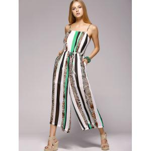 Spaghetti Strap Striped Jumpsuit with Pockets - WHITE AND GREEN XL