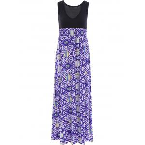 Stylish Plunging Neck Sleeveless Elastic Waist Geometric Print Women's Dress