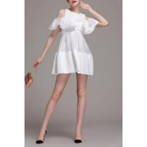 Cold Shoulder Ruffle Mini Dress - WHITE XL